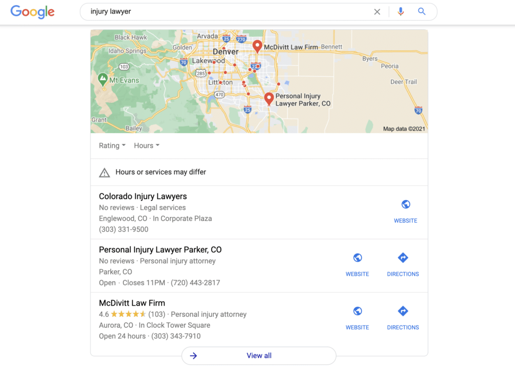 An example of local search results in Google and law firms that hired SEO companies to get them ranked